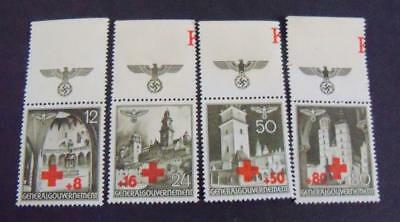 Third Reich General Government 1940 RED CROSS - Buildings stamp set -MNG-