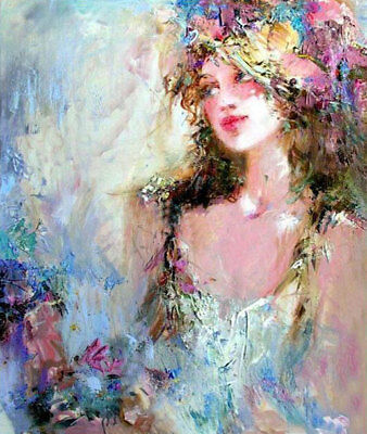 ZWPT585 charmed multi-color abstract girl hand painted art oil painting canvas