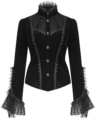 Dark In Love Womens Gothic Jacket Black Velvet Lace Steampunk Victorian Vampire