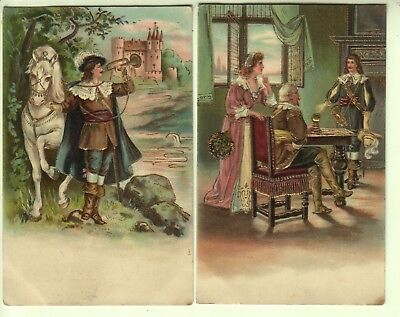 Two Artist Drawn Embossed and Gilded Cards - Historical Scenes