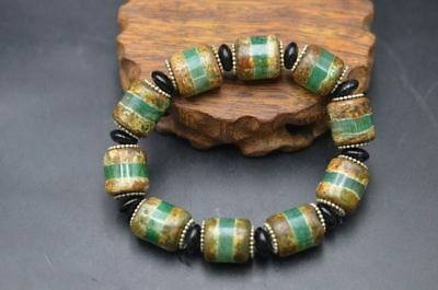 Excellent Tibetan Green Agate Dzi Beads Prayer Bracelet