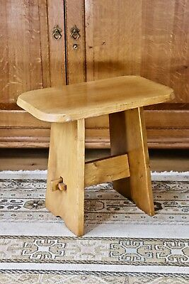 Solid golden oak arts and crafts style pegged stool / small end table