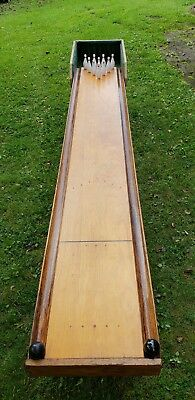 Vintage Naylor Bowl At Home Wooden Bowling Alley Game Huge 9' Very Rare Look
