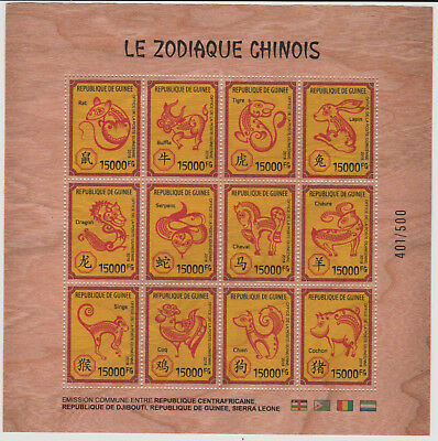 Guinea 2018 Joint wooden Issue Holzfurnier bois Chinese Zodiac China Year Pig