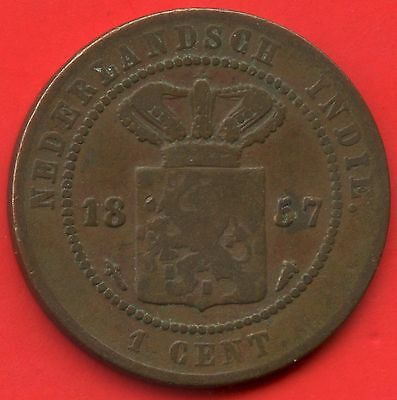 1857 Netherlands East Indies 1 Cent Coin