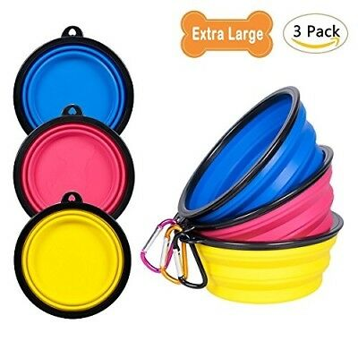 3-Pack Extra Large Silicone Collapsible Dog Bowl (4 Cups,34oz), BPA Free