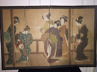 Japanese Ink Painting On Paper Four Panel Screen 20th C