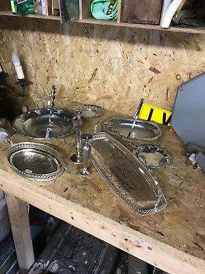 5 Silver plate And White Metal Trays And 2 Vases All Need Good Clean Spares