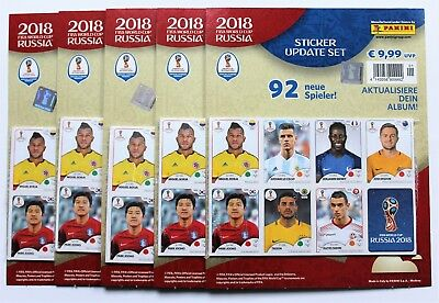 Panini World Cup 2018 Russia - 5 x sealed set of 92 update stickers NEW