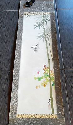 Antique Japanese Bird Bamboo Paper Hand Painted Season Scroll Signed
