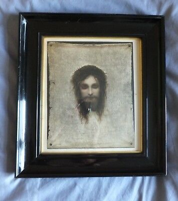 Antique Ebonised Deep Picture Frame With Print