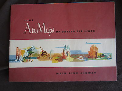 United Air Lines Map Flight Fluglinie Flug Karte Hawaiian Islands Denver 1954