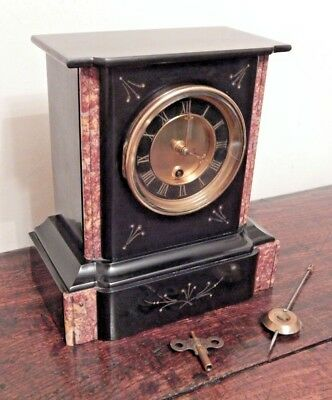 Heavy Black Slate and Marble Clock - French Movement 1890-1905 period