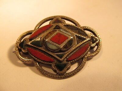 solid silver and agate brooch c1880?
