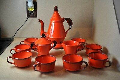 Metlox Poppytrail Red Rooster Coffee Pot with 8 Cups, Creamer and Sugar Bowl