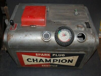 Vtg 50s CHAMPION spark plug tester/service/cleaner box, Great display piece.