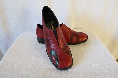 Ladies Red Leather Loafer Shoes  'reiker Anti Stress' + Uk 6 - Eu 39 + Vgc +