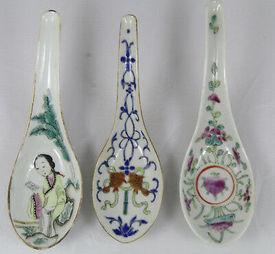 Chinese Fine Famille Rose Spoons, Lot Of 3, Antique