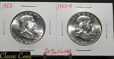 1963 and 1963-D Silver Franklin Half Dollars 50c Uncirculated Details 90% Silver