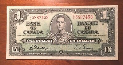 1937 Bank of Canada - $1.00 Bank Note - Very Fine - Gordon Towers VF