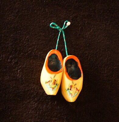 Pair Of Vintage Wooden Shoe / Klomp Souvenir Christmas Ornaments - Holland