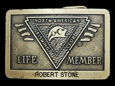 MF13132 VINTAGE 1980s **NORTH AMERICAN FISHING CLUB** LIFE MEMBER BELT BUCKLE