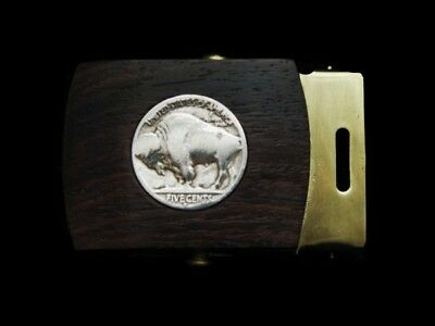 MF19140 *NOS* VINTAGE 1970s **BUFFALO NICKEL ON WOOD** BRASS WEB BELT BUCKLE