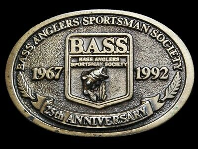 MF11135 VINTAGE 1992 **BASS ANGLERS SPORTSMAN SOCIETY** 25th ANNIVERSARY BUCKLE