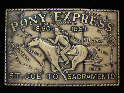 OJ03169 *NOS* VINTAGE 1970s **PONY EXPRESS ST. JOE TO SACRAMENTO** BELT BUCKLE