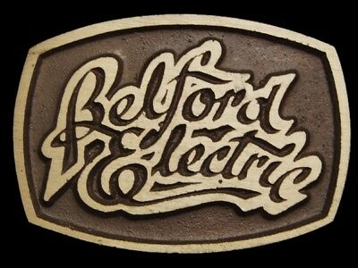 MG21140 *NOS* VINTAGE 1970s **BELFORD ELECTRIC** SOLID BRASS BELT BUCKLE