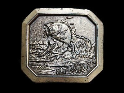Ma25115 Vintage 1977 **Large Mouth Bass Hooked On Fishing Line** Belt Buckle