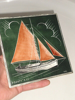 1930s T & R BOOTE PAINTED ROYAL CRUSING CLUB CERAMIC TILE DAHL FIDGET SAILBOAT