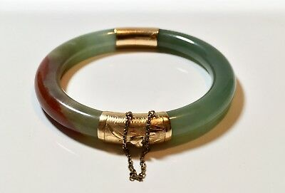 Vintage 14k Gold Green Red Jade Bangle Bracelet