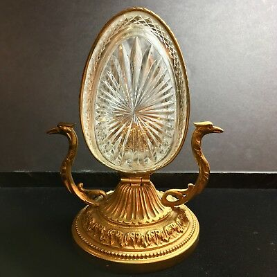 Antique French Crystal Egg Bronze Phoenix Handle Candle Holder