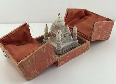 "Antique Souvenir Alabaster Marble Taj Mahal 3x3"" Statue Figurine in Jewel Box"