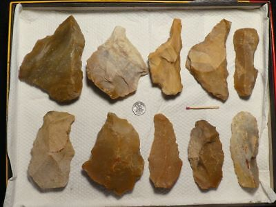 40.000Y.O:10 ARTIFACTS 116mms NEANDERTHAL FLINT STONE AGE PALEOLITHIC MOUSTERIAN