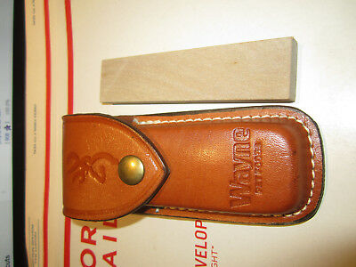 Vintage Browning Very Fine Grit Sharpening Stone W/ Leather Sheath Vgc