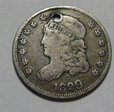 1829 Capped Bust Half Dime - Fine Detail / Holed - 3SU