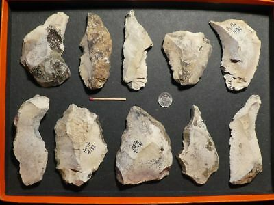 50.000Y.O: 10 ARTIFACTS 114mms NEANDERTHAL LINT STONE AGE PALEOLITHIC MOUSTERIAN