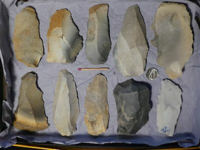60.000Y.O:10 ARTIFACTS 105mms NEANDERTHAL STONE AGE PALEOLITHIC MOUSTERIAN FLINT
