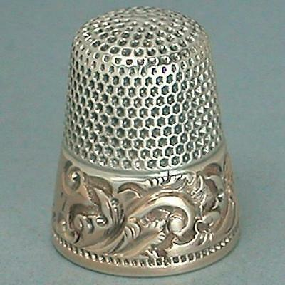 Antique 14 Kt Gold Band Sterling Silver Thimble by Ketcham & McDougall * C1890s