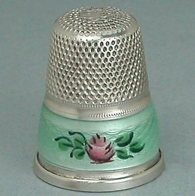 Vintage Enameled Roses Sterling Silver Thimble * Germany * Mid 1900s