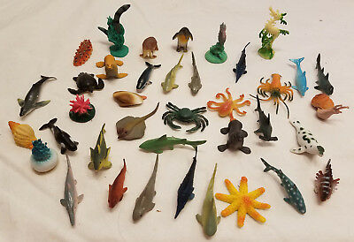 Lot of 38 Vintage Miniature Rubber Deep Sea Animals Fish Whales Sea Lions Crabs