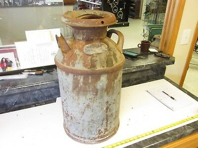 Old Antique 10 Gal Milk Farm Cream Can  Brass Tag  Schoch  Grafton Nebraska