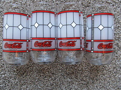 Set of 4 Coca Cola Drinking Glasses VINTAGE TIFFANY STYLE Coke STAINED GLASS