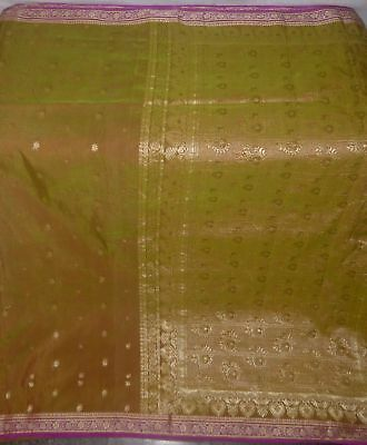 Change-Color-in-light-Vintage-Fabric-5-Yard-Weaving-Woven-Craft-Deco-sari-Saree