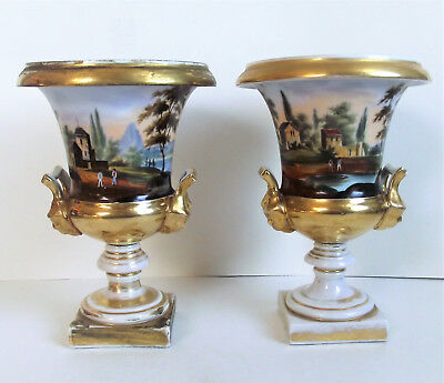 Antique FRENCH Pair OLD PARIS Porcelain HAND PAINTED SCENE LION HANDLE URN VASE