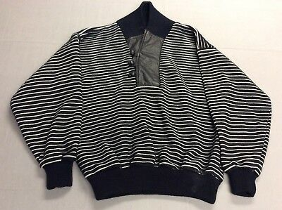 Vintage 80S Black Striped Acrylic & Leather Party Berman Sweater Mens Medium