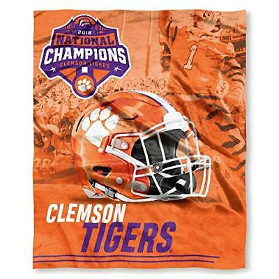"""Clemson Tigers 2019 National Champions Silk Touch Throw Blanket Size 50"""" x 60"""""""