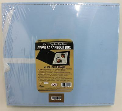 "NEW PIONEER SBX-12BB 12"" x 12"" Leatherette Top Loading Page Sewn Scrapbook Box"